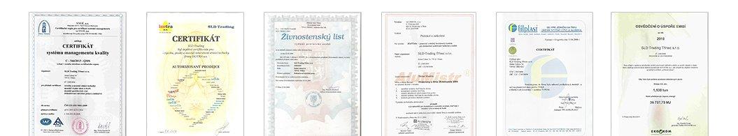 Certifikáty a osvědčení SLD Trading